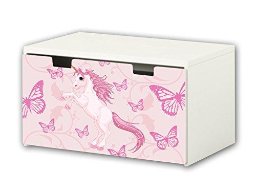 STIKKIPIX Unicornio Pegatina | Pegatinas para Muebles | BT35 | Adecuado para el arcón de Banco STUVA de IKEA para niños (90 x 50 cm) arcón de Juguetes y Banco | (Mueble no Incluido)