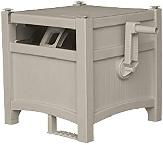 Suncast Resin Outdoor Hose Hideaway with Hose Guide - Durable Hose Storage Reel with Crank Handle, EasyLink System, and Hose Guide - 100' Hose Capacity - Taupe