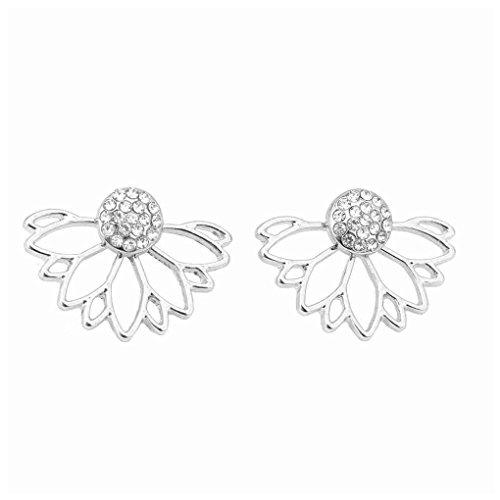 Deinbe Lotus-Kristallblumen-Bolzen-Ohrring-Frauen-Doppeltes versah Gold Silber-Ohrringe