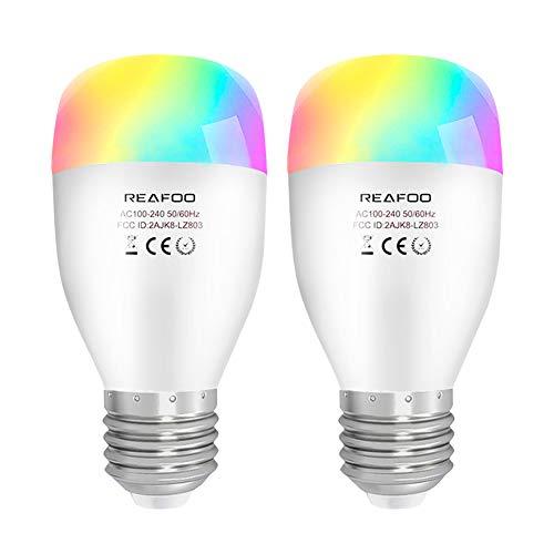 Lampadina LED, REAFOO Lampadina Smart LED Wifi E27 7W RGBW Dimmerabile Multicolore, Telecomando connessione Wi-Fi 2,4 GHz, Lampadina Intelligente compatibile...