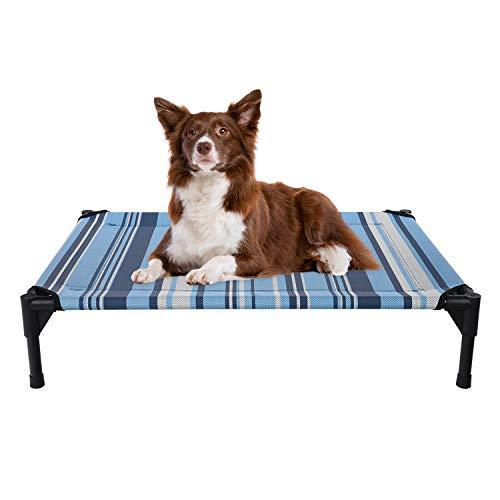 Veehoo Kühl Erhöhte Hundebett, Hundeliege Outdoor für Mittelgroße Hunde, aus Waschbar & Dauerhaft Textilene Netzstoff, M, Gestreift