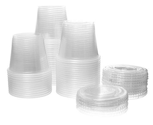 Crystalware Einweg-Portionierbecher mit Deckel, Kunststoff, transparent, 100 Stück, plastik, transparent, 4 oz.