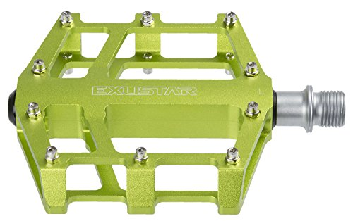 Exustar Plattform-Pedal, Design-Aluminium-Körper, CNC-CrMo-Achse E-PB-525, grün, -, 13113511