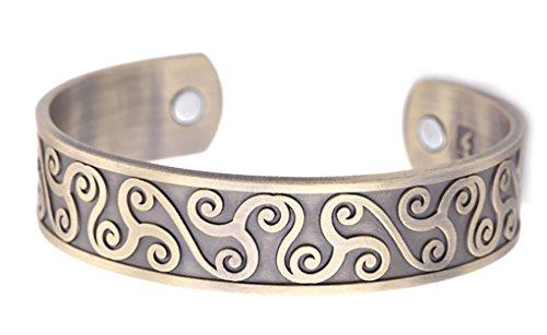 Celtic Symbol Triskelion Health Care Magnetic Therapy Cuff Bangle Men Bracelet for Blood Circulation (Antique Bronze)