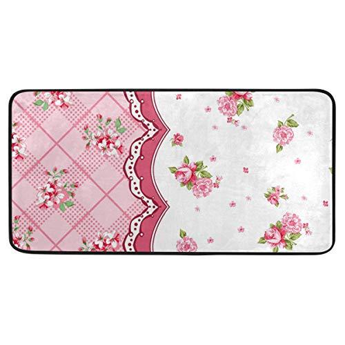 Bardic anti-slip deurmat klein madeliefje bloem en rooster deurmat machine wasbare slaapkamermat voor het leven dineren kamer slaapkamer keuken,50.8x99cm