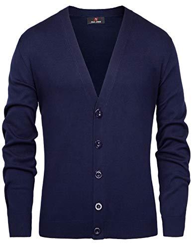 Men's Relax Fit Deep V-Neck Cardigan Button Placket Knitwear Size XL Navy Blue