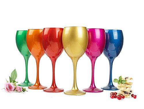 Sendez 6 Mix Weingläser 300ml Metall-Optik Weinglas Rotweingläser Weißweinglas