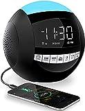 Alarm Clock Radio, 7 Colors Night Light with FM Radio,2 USB Chargers,Sleep Timers,Snooze,Dimmer,LED Display, Battery Powered/Plug in Digital Clock for Bedroom Nightstand Desk Heavy Sleepers Kid Teens