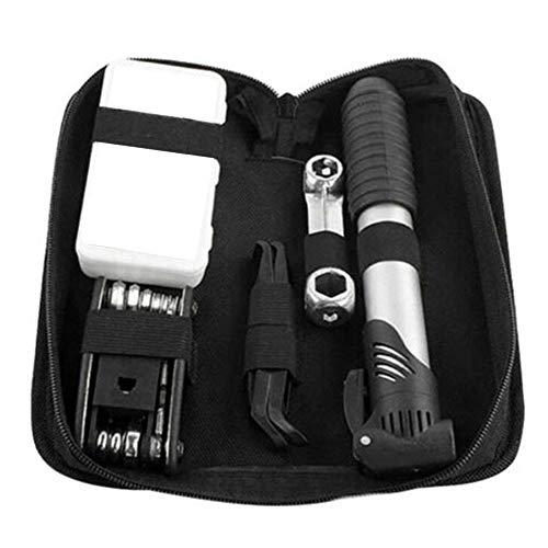 APcjerp Repair Tool Kit Durable avec Sac de Rangement VTT extérieur Faire du vélo à dégagement Rapide Clé Gadget Multifonction 16 en 1 Pompe Portable Hslywan