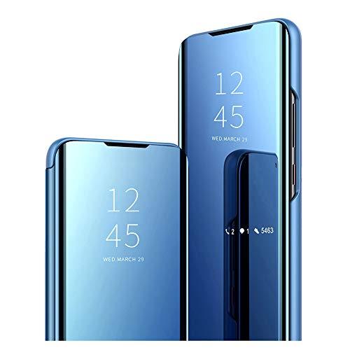 wonfurd Clear Mirror Samsung Galaxy A90 5G Hülle - Klapphülle Flip Hülle Booklet Cover Spiegel Transparent Handyhüllen Tasche mit Standfunktion 360 Grad für Samsung Galaxy A90 5G Schutzhülle-Blau
