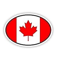 ステッカー 車 12cm * 8cmカナダフラグオーバルデカールオートバイ窓車のステッカーデカール ステッカー 車