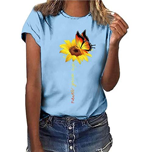 Dames Basic T-shirt, Dasongff casual shirts zonnebloem print ronde hals korte mouwen top casual shirt met korte mouwen meerkleurige blouses