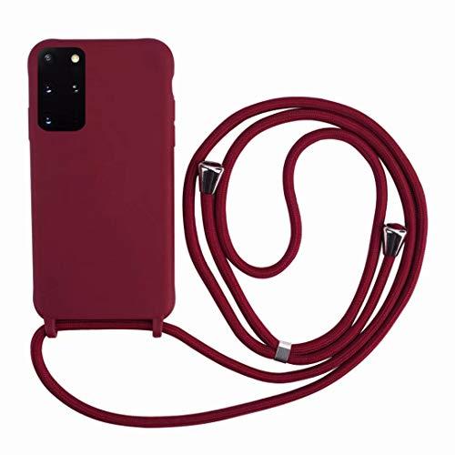 2ndSpring Cover con Collana Compatibile con Samsung Galaxy S21 Plus,Case con Laccio per Il Collo Custodia con Cordino,Soft Silicone Rosso