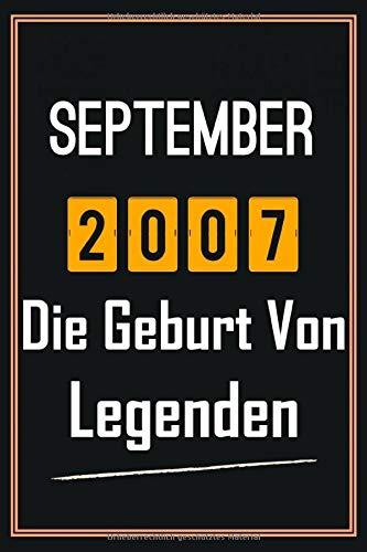 September 2007 Die Geburt von Legenden: 13. geburtstag geschenk jungs mädchen, geschenkideen für 13 jährige Bruder Schwester Freund - Notizbuch a5 liniert