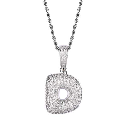 HECHUANG Micropave Simulated Diamond Iced Out Bling Custom Bubble Letters Pendant with Rope Chain (D Silver, 24)