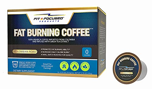 Fat Burning Keto Coffee K Cup Pods- Organic Colombian Roast Infused With Green Tea Antioxidants, Skinny Diet Friendly, Fitness & Weight Loss Friendly, And Metabolism Boosting