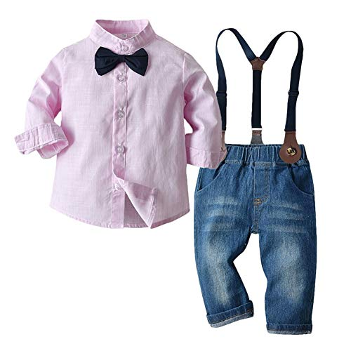 PUJIANGxian BoyVarious roze met lange mouwen hemdkraag shirt cowboy pak zakdoek