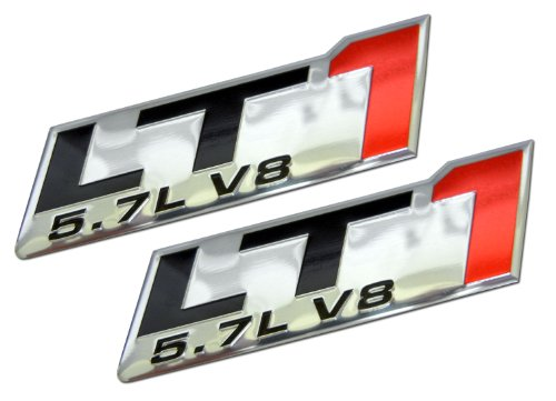ERPART LT1 5.7L V8 RED Engine Emblem Badge Highly Polished Aluminum Chrome Silver Compatible with Chevy Corvette C4 Buick Camaro Pontiac Trans AM Caprice SS Impala Cadillac Pontiac Firebird Z28 (Pack