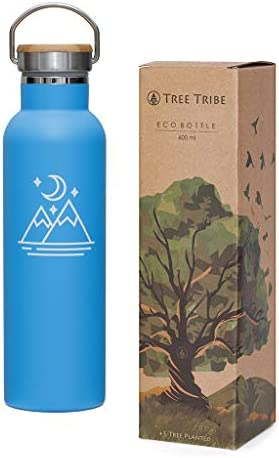 Tree Tribe Stainless Steel Blue Water Bottle 20 oz Mountain and Moon Indestructible BPA Free product image