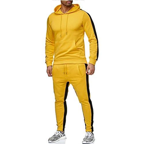 Momoxi Herren Jogginganzug Übergrößen Herren Cotton Relax Trainingsanzug Freizeitanzug Set Herbst Sportbekleidungsset Trainingsanzug Pullover Trikot t Shirt Kleidung Jacke gelb XL