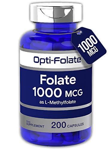 Folate (L-Methylfolate) 1000mcg | 200 Capsules | 5-MTHF Active Form of Folic Acid | Non-GMO, Gluten Free | by Horbaach