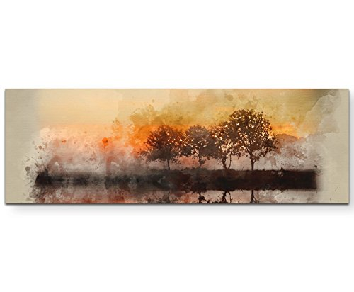 Paul Sinus Art Leinwandbilder | Bilder Leinwand 120x40cm Aquarellbild Herbstlandschaft