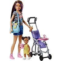 Barbie Babysitters Inc. Doll and Playset Muñeca Skipper hermana, niñera de paseo, multicolor (Mattel FJB00)