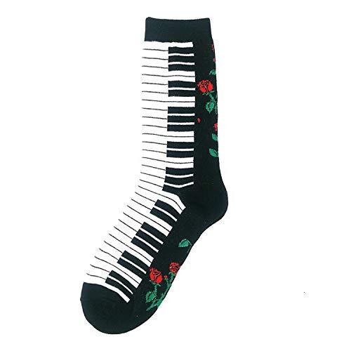 LIOOBO Nieuwigheid Gedrukte Sokken, Casual Grappige Cartoon Piano Patroon Harajuku Novelty Gelukkig Sokken Katoen Comfortabele Ademende Unisex Man Vrouw (3st)