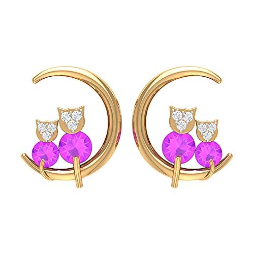 Pendientes de luna de gato de 1/2 ct con kunzita y diamante creados, pendientes de tuerca para mujer (Kunzita creada de corte redondo de 3 mm), 14K Oro amarillo, Par