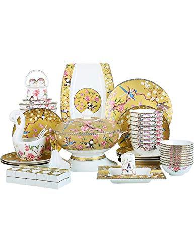 GYZD Cuenco y tazón de vajilla de China de Hueso y Conjunto de vajillas domésticas (60 Piezas para Banquete de Familia)