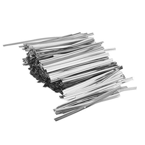 dailymall Paquete de 800 Corbatas Metálicas Doradas/Plateadas para Sellar, Alambre de Encuadernación, Cello, Piruleta, Dulces, Bolsas de Embalaje de Regalo, C - Plata, Individual