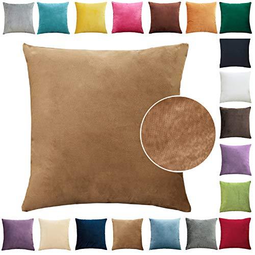 Brfash Fundas de Cojine Throw Cojín Decoración Almohada la Cubierta Hogar Sofá Coche Cama Color Sólido Elegante Terciopelo Funda de Almohada Blanco 20x20/50X50CM