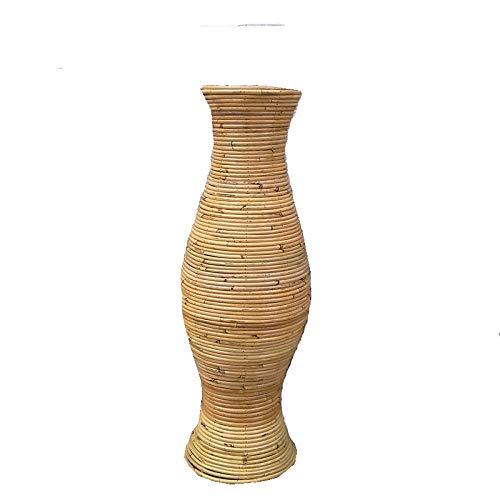 Ding&ng Vaso in Rattan indonesiano, Composizione Floreale dal Pavimento al soffitto in Rattan Naturale, Vaso in Rattan, Vaso in Paglia Naturale, Altezza 40-100 cm-Altezza 100 cm