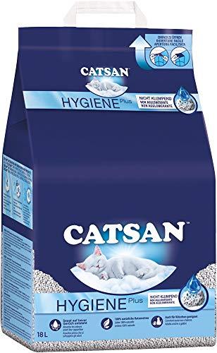 Catsan Hygiene Plus – Weiße Hygienestreu mit Extra-Mineralschutz – 1 x 18 Liter