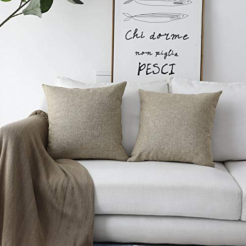 HOME BRILLIANT 2 Pack Burlap Linen European Pillowcases Pillow Sham Large Cushion Covers for Sofa, 24x24 inches(60cm), Natural Linen