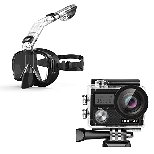 AKASO Brave 4 4K 20MP Action Camera & Snorkel Mask with Camera Mount Diving Mask for Adults and Young