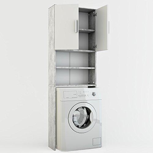Vicco Waschmaschinenschrank 190 x 64 cm – Badregal Hochschrank Waschmaschine Bad Schrank Badezimmerschrank Überbau (Weiß)