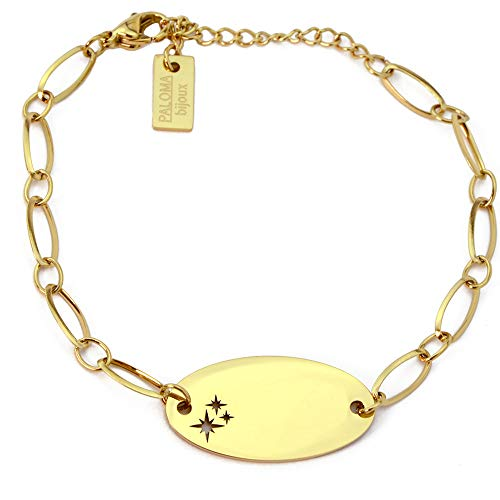 Paloma Bijoux - Pulsera con placa ovalada de estrella, cadena de eslabones de acero quirúrgico – Grabado de nombre a medida 316L