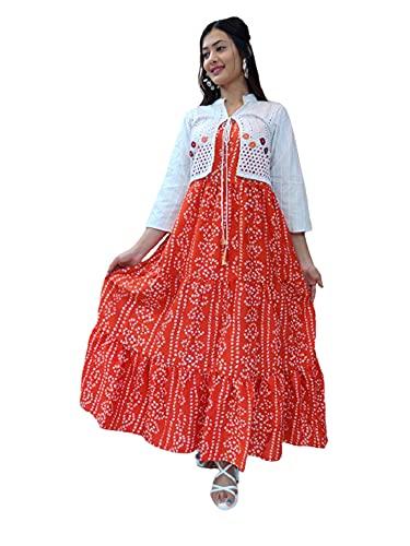 Naranja Bandhej Print Rayon Anarkali Kurta con Schiffli trabajo a mano Blanco Chaqueta Estilo Maxi Vestido 475i - - XL