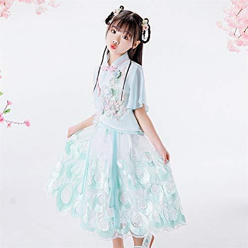 GEMORE Chinos Han Ropa Traje de Disfraces niñas Falda Xia Zhongguo Cheongsam Tradicional Viento confucianismo Falda Retro de Dos Piezas Velo de Hadas Pasarela (Color : Light Green, Size : 130cm)