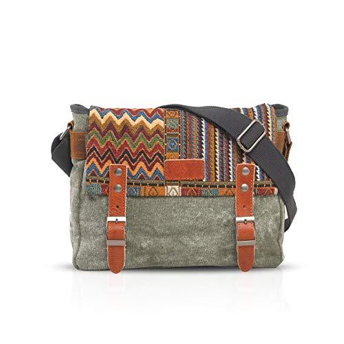 FANDARE Retro Umhängetasche Herren/Damen Business Commuter Crossbody Bag Outdoor Reisen Große Kapazität Messenger Tasche Atmungsaktiv Leinwand Grün