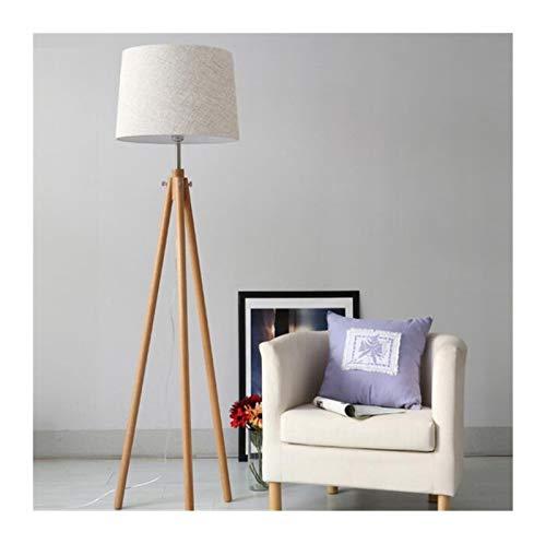 JSJJRFV lámpara de Piso Lámparas de Piso de Madera nórdicas Modernas de Madera Pantalla de Tela de Madera Trípode Lámpara de pie for la Sala de Estar Dormitorio Interior Ming Cuarto