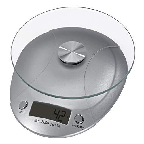 Xavax Präzise, digitale Küchenwaage mit abnehmbarer Wiegefläche aus Sicherheitsglas, Bis 5 kg, Milla, Silber