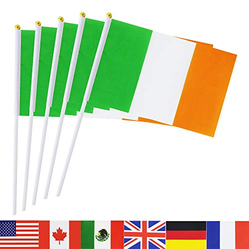 Ireland Stick Flag,TSMD 50 Pack Hand Held Small Irish National Flags On Stick,International World Country Stick Flags Banners,Party Decorations For Grand Opening,Olympics,Sports Clubs,Festival Events