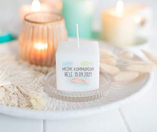 3 Stück Kerze Gastgeschenk - Geschenke für Gäste - Dankesagung - zur Kommunion, Konfirmation, Firmung, Taufe - personalisiert - Water Color Fisch für Mädchen und Junge