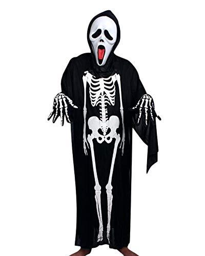 Guiran Disfraz De Esqueleto De Halloween Hombre Niños para Carnaval Partido Disfraces Cosplay Set 120CM