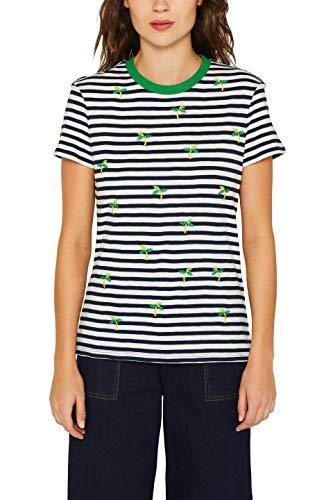 edc by ESPRIT Damen 049CC1K027 T-Shirt, Blau (Navy 400), X-Large (Herstellergröße: XL)