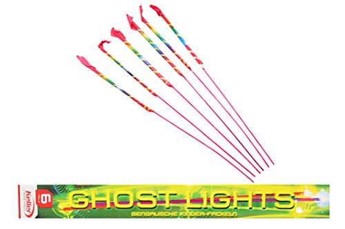 jameitop® 6 Stück Bengalische Kinderfackeln - Ghostlights ganzjahres Fackeln Kinderfeuerwerk roter, silberner Flamme und Silberglitzer BAM 0589-F1-0103