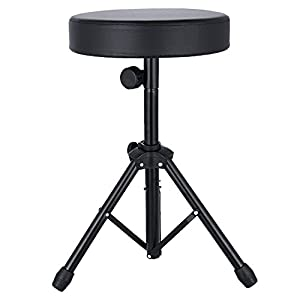 EastRock Universal Drum Throne,Padded Drum Seat Drumming Stools with Anti-Slip Feet for Adults and Kids Drummers, Black (Black)