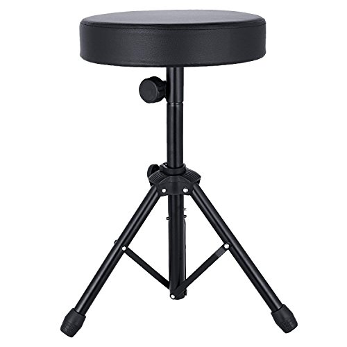 EastRock Universal Drum Throne,Padded Drum Seat Drumming Stools with Anti-Slip Feet for Adults and Kids Black (Black)